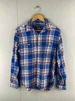 Old Navy Vintage Men's Western Long Sleeve Shirt Size M Blue Red Check