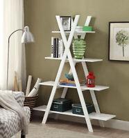 "Modern ""A"" Frame Ladder Bookcase Accent Decor Photo Storage Display Shelf White"