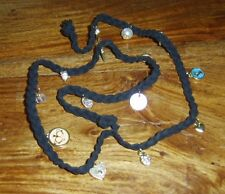 LADIES BLACK CORD CHARM BRACELET WITH GOLD TONE CHARMS ONE SIZE NEW