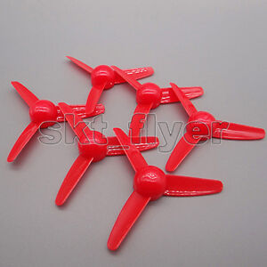 10pcs Three-bladed Red 80*2mm Propeller Air Fan Aircraft Model Helicopters HM