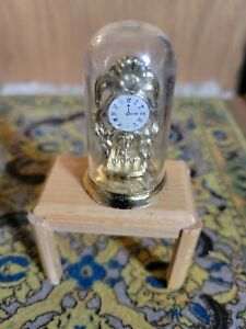 Dollhouse Miniature Brass Anniversary Clock under Glass Dome   1:12 Scale