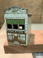 SCARCE Vintage 1914 WEST BROS Drug Store TIN LITHO CANDY CONTAINER INVP2222
