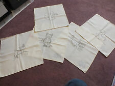 "Stamped Cross Stitch Cloth Set 5 Cloth Only 16"" Squirrel Lamb Owl Raccoon Duck"
