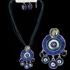 Parure collier, boucles d'oreille, émail marron bleu coton bijoux fantaisie Neuf