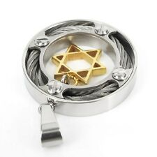 Men's Gold Star Of David Silver Pendant Necklace Steel Chain Fashion Metal