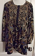 Ulla Popken Gorgeous Beaded Tunic Top Boho Hippie Paisley NEW Sz 24 / 26 4X