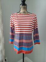J. McLAUGHLIN Women's Top Blouse Nylon Size Medium striped 3/4 Sleeve