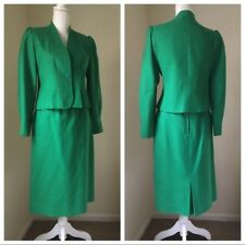 Vintage Green Scalloped Skirt Blazer Suit Set