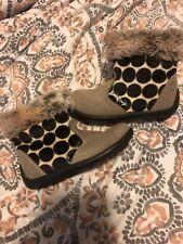 Primigi Gray & Black Shoes Boots with Fur Toddler Baby Girls Size 6.5 EU 23