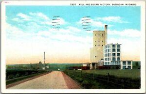 """Sheridan, Wyoming Postcard """"Mill & Sugar Factory"""" Road View Curteich 1944 Cancel"""