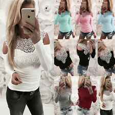 Plus Size Women Long Sleeve Lace Cold Shoulder Ladies Casual Tops Blouse T-Shirt