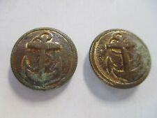 Two Round Vintage Metal Anchor Buttons