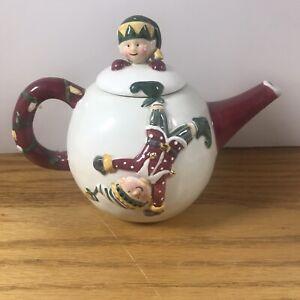 "Christmas Tea Pot Sakura Elf Teapot Round Holiday Ceramic 5 1/2"""