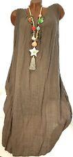 Sommerkleid Leinen Opt Chayen (Beige) Gr.42-44-46 Strand Kleid Tunika Hängerchen
