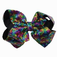 New Baby Girls JOJO Sequins Large Bowknot Rainbow Bows Hairpin Hair Pin Pretty