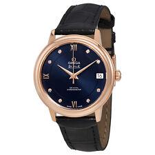 Omega De Ville Prestige Blue Diamond Dial Ladies Leather Watch