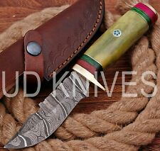 UD HANDMADE FIXED BLADE DAMASCUS ART HUNTER SKINNER KNIF CAMEL BONE HANDLE 10549