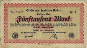 NOTGELD GERMANY  AACHEN --  1 FEBRUAR 1923 - 5000 MARK //887