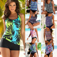 Womens Two Piece Push Up Padded Tankini Bikini Swimsuit Bathing Suit Swimwear V