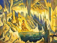 Painting Illustration Buddhism Meditation Cave Grotto Lotus Canvas Art Print