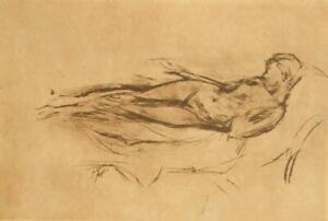 100 year old James M. Whistler engraving sketch 'Girl, Nude' 1900's