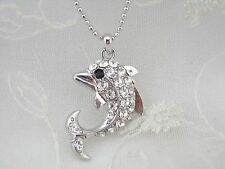 Silver Dolphin Pendant Necklace Crystal Rhinestone Fashion Jewelry NEW