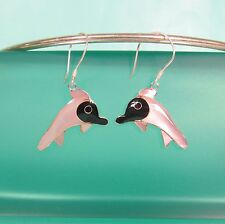 """1"""" White Mother of Pearl Shell Happy Dolphin 925 Sterling Silver Dangle Earrings"""