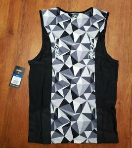 Zoot Mens L Tri Tank Performance Top Black Camo Compression Triathlon Shirt Gray