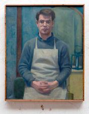 More details for original vintage mid century oil portrait painting young man decorative british