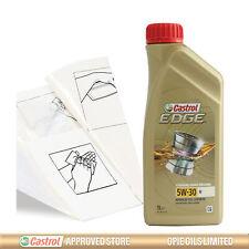 Engine Oil Top Up 1 LITRE Castrol EDGE 5w-30 M 1L +Gloves,Wipes,Funnel