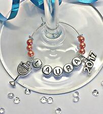 1 x PERSONALISED 2018 WINE CHAMPAGNE GLASS CHARM ;BIRTHDAY / dinner Party / GIFT