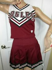 "HS EAGLES Cheerleader Uniform Outfit Costumes Sizes 34-36"" Top 25-28"" Fly Skirt"
