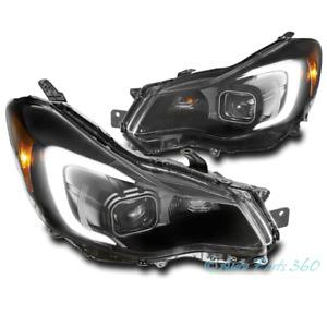 For 12-15 Subaru Impreza/13-16 XV Crosstrek LED Tube Projector Headlights Black