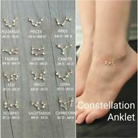 12 Constellation ANKLET, Celestial Zodiac Ankle Bracelet Chain Bridesmaid Hot