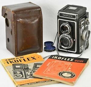 ZEISS IKOFLEX Ia TLR Camera, Ikon f3.5 75mm Lens, Leather Case, 2 Guides