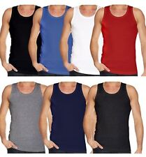 2X MENS VESTS OR 100% Cotton TANK TOP SUMMER TRAINING GYM TOPS PACK PLAIN S-2XL
