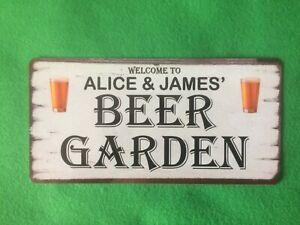 Personalised Beer Garden Sign Plaque Indoor or Outdoor Drinks Bar Man Cave