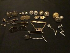 Small Lot 26 Pc Vintage Mens Cuff Links And Tie Tacks Steelers & Others