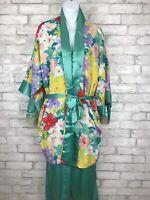 Vintage Victoria Secret Gold Label Green Floral Satin Pajama and Robe Set Medium