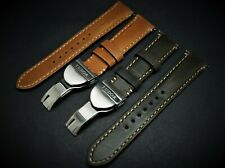 20MM TUDOR LEATHER DEPLOYMENT WATCH ORANGE/BROWN STRAP WITH SILVER BUCKLE