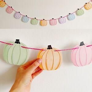 Pastel Pumpkin Garland Mantle Bunting Party Decoration Halloween Autumn