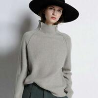 Damen Kaschmir Rollkragenpullover Pulli Strickpullover Pullover Loose Sweater