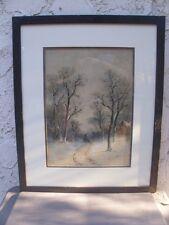 Original Vintage Watercolor Snow Scene 2 Figures Sled Woods Cabin Framed Matted