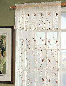 Beige Lace Floral Curtains Drapes Valances For Sale Ebay