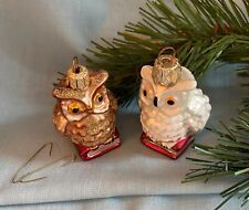 "2 Owls Oberfrankische Glass Germany 2"" Brown White Book Christmas Ornaments Glas"