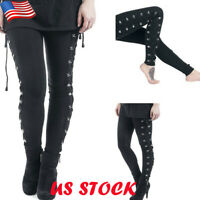 Womens Ladies Gothic Punk Black Stretch Trousers High Waisted Lace Up Slim Pants