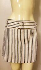 New KAREN MILLEN Belted Ivory Beige Black Dotted Stripe Mini Skirt NWT US Sz 12