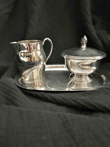 PAUL REVERE REPRODUCTIONS,FB ROGERS SILVER CO. 1052 SILVER PITCHER & SUGAR BOWL