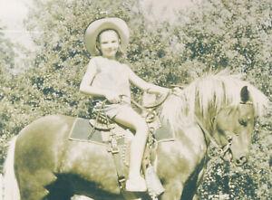 Vintage 60's Happy Little Girl on Shetland Pony Horse Photo Black & White