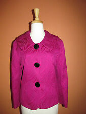 Chaus Size 12 Fuchsia Pink Textured Peter Pan Collar Jacket with Big Buttons